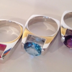 Sterling silver, 14 kt yellow gold, semi-precious stone rings, pendants