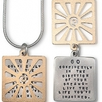 Sterling silver / gold-plated bronze necklaces Inscribed quotes