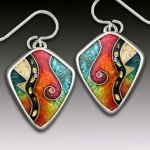 Sterling silver cloisonne enamel pendants, earrings, bracelets