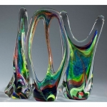 Hand blown glass sculpture/metal